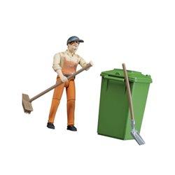Figurka pracownika ze śmietnikiem Bruder  U62140