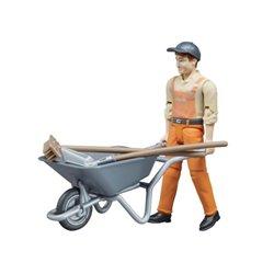 Figurka pracownika z taczką Bruder  U62130