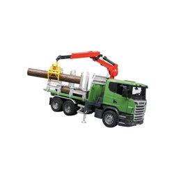 Zabawka ciężarówka do przewozu drewna z żurawiem Scania LKW Bruder  U03524